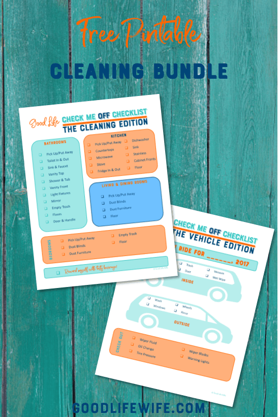 Get your free, printable Cleaning Bundle to help you stay on track after you've used this practical 4-Day Plan to Get Your House Completely Clean.